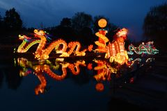 Traditional Chinese dragon lanterns. Traditional Chinese lanterns light up to celebrate the spring festival. Dragons are the most favourite symbols of Chinese stock image