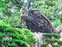 Traditional chinese dragon sculpture at Yu Gardens, Shanghai, China.  stock images