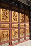 Traditional chinese encarved doors. Traditional chinese doors panelling dali old town royalty free stock photography
