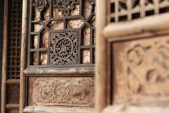 Traditional chinese encarved doors. Traditional chinese doors panelling dali old town stock images