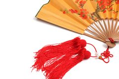 Traditional Chinese fan. Closeup of Traditional Chinese fan on white background Royalty Free Stock Photos