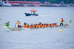 Dragon boat festival in Guangzhou China women team. Traditional Chinese Festival,  double Fifth, Duanwu. Held every year in May. boat team from demestic and Stock Photo