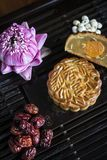 Traditional chinese festive mooncake pastry dessert. Gourmet traditional chinese festive mooncake pastry dessert Stock Photos