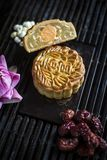 Traditional chinese festive mooncake pastry dessert. Gourmet traditional chinese festive mooncake pastry dessert Royalty Free Stock Photos
