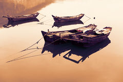 Traditional Chinese fishing boats out of wood Royalty Free Stock Photography
