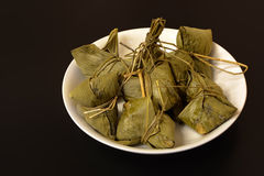 Traditional Chinese food chimaki wrapped in bamboo leaf Royalty Free Stock Photography