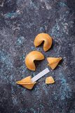 Traditional Chinese fortune cookies with prediction Stock Photos