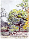 Traditional chinese garden with pagoda pavilions - hand drawing Royalty Free Stock Image