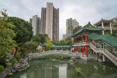 Traditional chinese garden park in Hong Kong Stock Photography