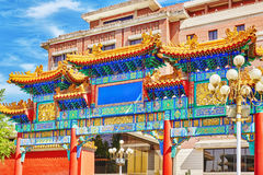 Traditional Chinese gate in Beijing. Stock Photo