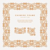 Traditional Chinese Golden Frame Tracery Design Decoration Eleme. A Traditional Chinese Golden Frame Tracery Design Decoration Vector Elements Stock Image