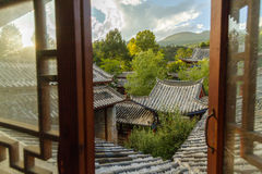 Traditional Chinese half timbered Architecture in Lijiang Old Town, Yunnan Royalty Free Stock Photos