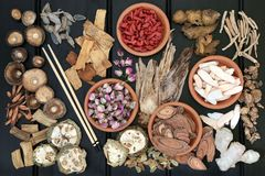 Traditional Chinese Herbal Medicine. Traditional chinese herbs used in herbal medicine in terracotta bowls and loose on dark wood background stock photography