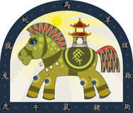 Traditional Chinese horse. Green horse symbol of the Chinese New Year and the Chinese Zodiac Characters Stock Photos