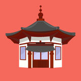 Traditional Chinese House with typical Lanterns Royalty Free Stock Photos