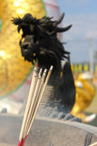 Traditional Chinese incense with black dragon in background Stock Image