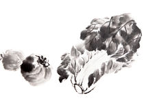 Traditional Chinese Ink and wash painting Royalty Free Stock Photo
