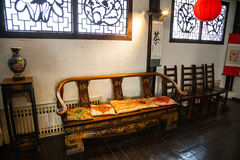 The traditional Chinese interior rooms, Chinese furniture Stock Photo