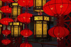 Traditional Chinese lamps. Chinese traditional lamps and lanterns in the mall, foil festal atmosphere Stock Image