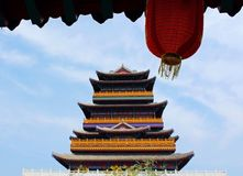 Traditional Chinese Lantern and 1000-Fortune Tower Stock Images