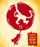 Traditional Chinese Lantern and Monkey in Brushstrokes Style, Vector Illustration stock photos