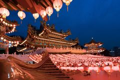 Traditional Chinese lanterns display in Thean Hou Temple illumin royalty free stock photos
