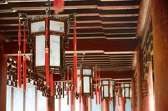Traditional Chinese lanterns in old architecture in Yu Yuan Gardens, Shanghai, China. Royalty Free Stock Images