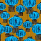 Traditional Chinese lanterns, seamless pattern design. Chinese lanterns sky lantern or Kongming lantern, hand drawn watercolor illustration, blue colors on dark Royalty Free Stock Photography