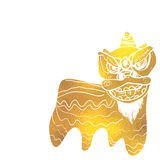 Traditional Chinese lion dance festival background. Gold Royalty Free Stock Photo