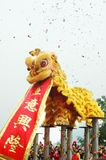 Traditional Chinese Lion Dance with Scroll Stock Photos