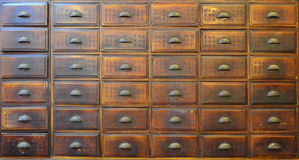 Traditional Chinese medicine cabinet. Antique Chinese wooden medicine chest royalty free stock photography