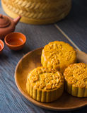 Traditional Chinese mid autumn festival food Stock Photos