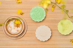 Traditional Chinese mid autumn festival food. Snowy skin mooncakes. stock photos