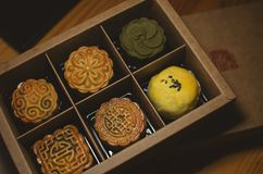 Traditional Chinese mooncake baked by a young chef stock photography