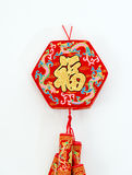 Traditional chinese new year decoration. Chinese Firecrackers, calligraphy mean blessing Stock Images