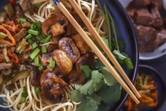 Traditional Chinese noodles noodles with fried mushrooms. royalty free stock image