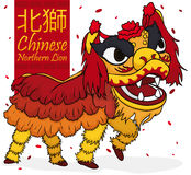 Traditional Chinese Northern Lion Dancers with Confetti, Vector Illustration Royalty Free Stock Images