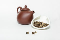 Traditional chinese oolohg tea with a clay teapot Stock Image