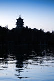 Traditional Chinese pagoda on dark blue evening sky Royalty Free Stock Images