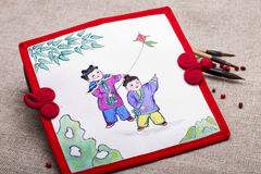 Traditional Chinese painting on canvas Royalty Free Stock Photography