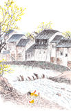 Traditional Chinese painting of country landscpe Royalty Free Stock Photo