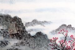 Traditional Chinese painting , landscape Stock Photos