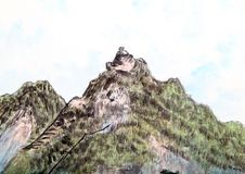 Traditional Chinese painting , landscape,trees, Stock Images