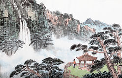Traditional Chinese painting , landscape,trees Stock Photo