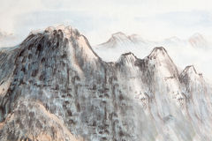 Traditional Chinese painting , mountain,trees Royalty Free Stock Photos