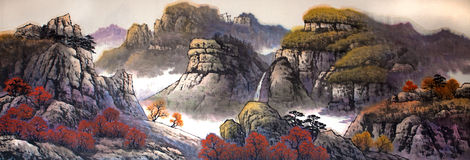 Traditional Chinese painting. A piece of traditional Chinese painting Stock Images