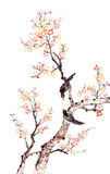 Traditional Chinese painting of plum blossom. Traditional Chinese painting of flowers, plum blossom and two birds on tree, white background vector illustration