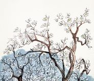 Traditional Chinese painting of plum blossom. In the country Stock Photo