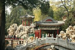 Traditional chinese park, Beijing Royalty Free Stock Photos