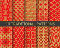 Traditional chinese pattern set, vector. 10 different traditional chinese patterns. Endless texture can be used for wallpaper, pattern fills, web page background royalty free illustration